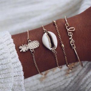 Jewelry - Gold Shell Pineapple Love Charm Bracelet Set Stack